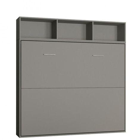 Lit escamotable STRADA-V2 gris mat Couchage 160 x 200 cm avec surmeuble 3 niches de rangements - gris