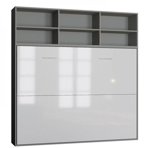 Lit escamotable STRADA-V2 structure gris mat façade blanc brillant avec surmeuble 140*200 cm - bi color