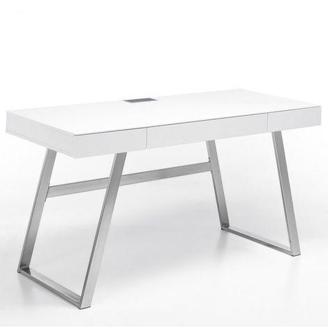 Bureau AKEN laqué blanc mat 3 tiroirs piétement métal brossé - blanc