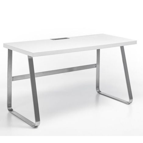 Bureau BEATA laqué blanc mat piétement métal brossé - blanc