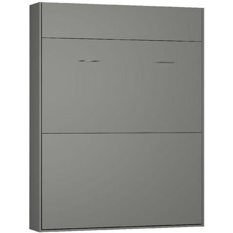 Lit escamotable STUDIO gris graphite mat Couchage 160*200 cm Ouverture assistée et pied automatique - blanc