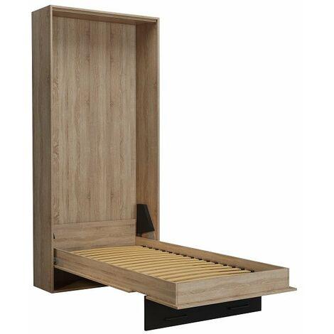 Lit escamotable style industriel KEY chêne bandeau et ferrures noir mat 90 x 200 cm - vintage