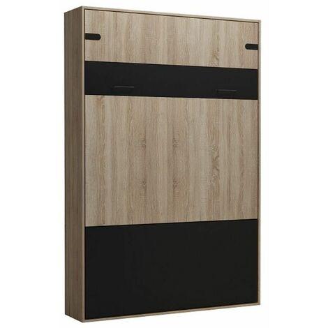 Lit escamotable style industriel KEY chêne bandeaux et ferrures noir mat 140 x 200 cm - vintage