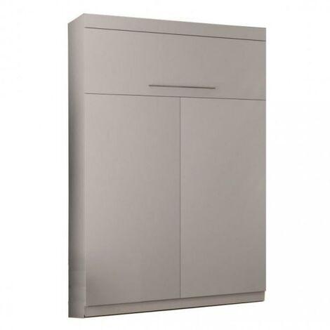 Lit escamotable SANTORIN Couchage 140 x 190 cm profondeur 50 cm gris clair mat - gris