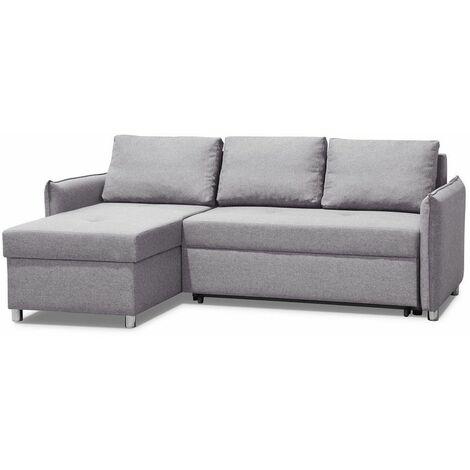 Canapé d'angle réversible et convertible KIRSTEN gris silex couchage 120x190cm - gris