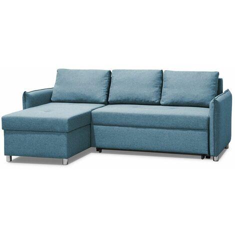 Canapé d'angle réversible et convertible KIRSTEN bleu paon couchage 120x190cm - bleu
