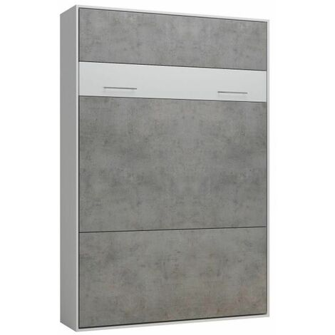 Lit escamotable LOFT blanc façade gris béton couchage 140 x 200 cm - bi color