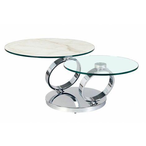Table OLYMPE MARBLE à plateaux pivotants en verre et céramique marbre blanc - blanc