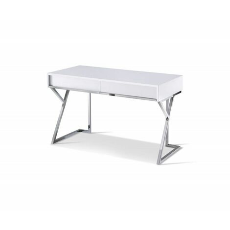 Bureau EPSYLON design blanc laqué piétement chromé 2 tiroirs - blanc