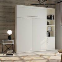 Lit escamotable LUTECIA blanc mat Couchage 140 x 190 cm colonne blanche - blanc
