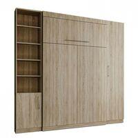 Composition armoire lit escamotable LUTECIA chêne naturel couchage 140*190 cm - natural
