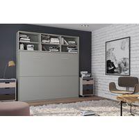 Lit escamotable STRADA-V2 gris mat Couchage 140 x 200 cm avec surmeuble 6 niches de rangements - gris