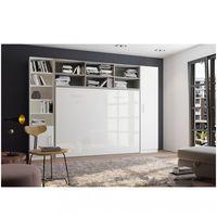 Composition armoire lit horizontale STRADA-V2 gris / blanc mat façade armoire-lit blanc brillant 2 colonnes 140*200 cm - bi color