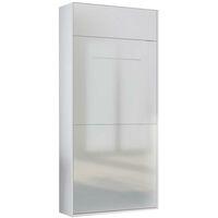 Lit escamotable STUDIO façade blanc brillant Couchage 90*200 cm Ouverture assistée et pied automatique - blanc