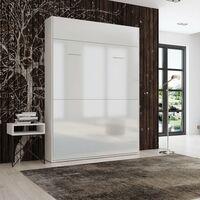Lit escamotable STUDIO façade blanc brillant Couchage 140*200 cm Ouverture assistée et pied automatique - blanc
