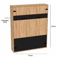 Lit escamotable style industriel KEY chêne bandeaux et ferrures noir mat 160 x 200 cm - vintage