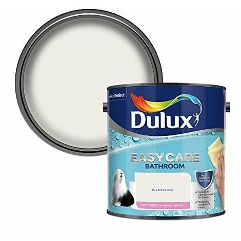 Dulux Easycare Bathroom Soft Sheen Emulsion Paint For Walls And Ceilings - Pure Brilliant White 2.5L