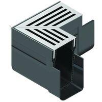 ACO Drainage Threshold Drain Corner Unit Assembly with Black Aluminium Grating