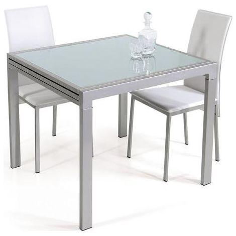 Tavolo Da Pranzo Vetro Temperato Allungabile Fino 240x85 Cm Gambe Acciaio 120x85 Cm Chiuso Estensibile Design