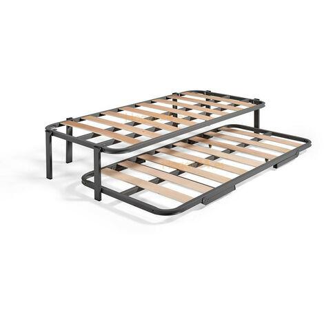 Cama Nido con 2 somieres estructura reforzada doble barra superior + 6 patas. Varias medidas 105X190