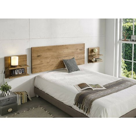 Cabecero + 2 mesitas acabado madera maciza natural, medidas 155 x 60 x 2 cm