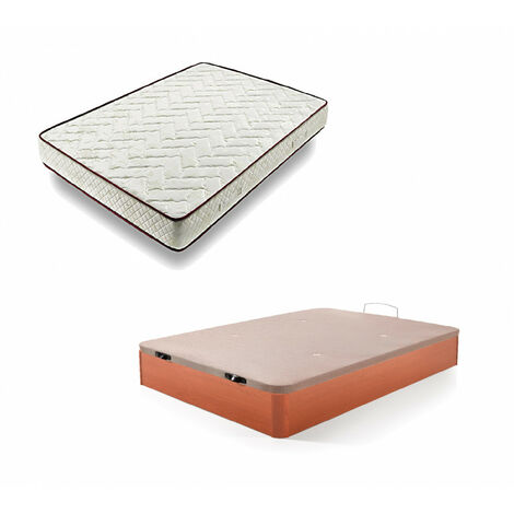 Cama Completa - Colchon Flexitex + Canape Abatible De Madera Color Cerezo, 105x190 Cm