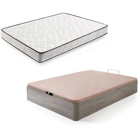 Cama Completa - Colchon Flexitex + Canape Abatible De Madera Color Roble Cambrian, 135x190 Cm