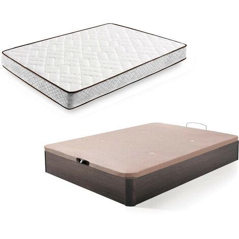 Cama Completa - Colchon Flexitex + Canape Abatible De Madera Color Wengue, 135x190 Cm