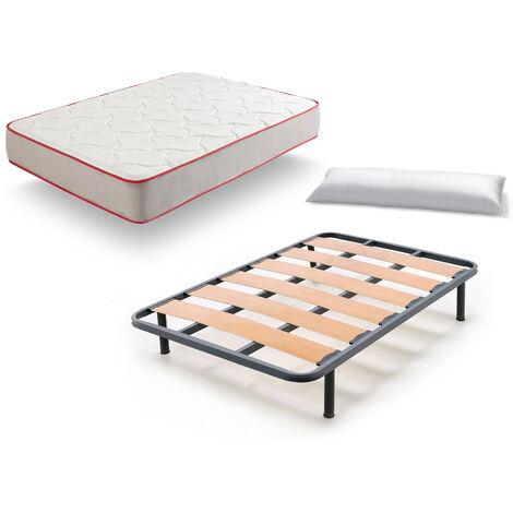 Somier Lama Ancha + Colchon Bamboo 3d + Almohada Fibra Resinada - 80x190