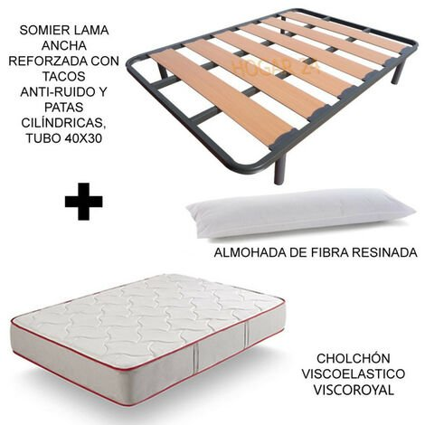 Somier Lama Ancha + Colchon Bamboo 3d + Almohada Fibra Resinada - Patas 32 - 80x190