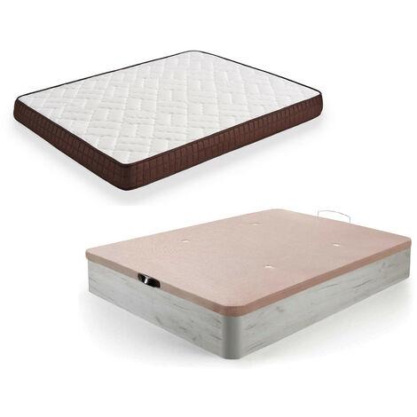 Cama Completa - Colchon Viscobrown Reversible + Canape Abatible De Madera Color Blanco Vintage, 135x190 Cm