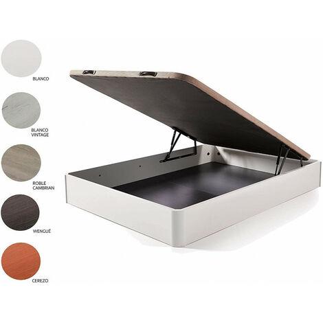 Cama Completa - Colchon Viscobrown Reversible + Canape Abatible De Madera Color Roble Cambrian, 90x190 Cm