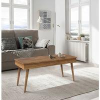Mesa de centro elevable diseno vintage, madera maciza natural, fabricacion artesanal. 100 cm x 50 cm x 47 cm