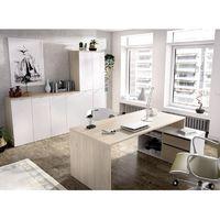 Mesa Escritorio Modelo ROX, Mesa Despacho Reversible, Color Madera Natural y Blanco Brillo.