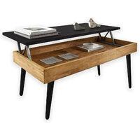 Mesa de centro elevable con cajón, estilo escandinavo, acabado encerado y negro, madera maciza pino 100% natural