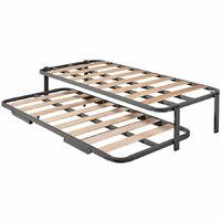Cama Nido - Somier Superior Con Estructura Reforzada Doble Barra y 4 Patas + Somier Inferior Con Patas Plegables y Ruedas, 90x190 cm
