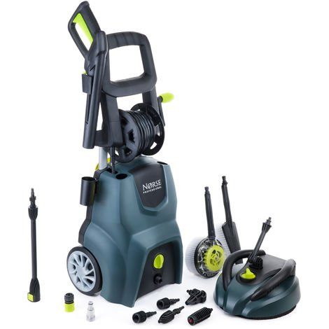 Norse SK155 - 255 Bar, 3700 psi Electric Pressure Washer / Power Jet with Patio Cleaner - Car, Bike, Garden
