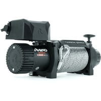 Rhino Winch - Electric Recovery Winch Heavy Duty 12v, 13,500lb / 6125Kg Carbon Series - Two Wireless Remotes - Steel Cable