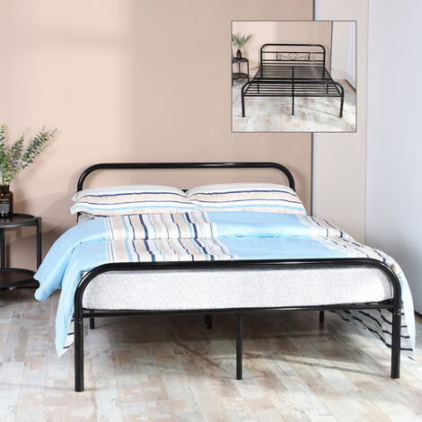 Black metal double bed 2-seater slatted base