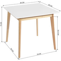 Dining Tables Kitchen Tables Modern CURRENCY SQUARE TOP 80 White 80CM*80CM