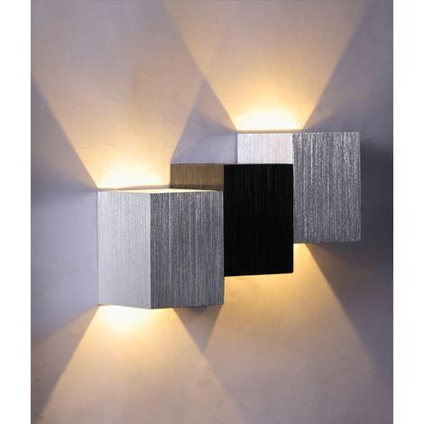 6W Led Apliques de Pared Aluminio Lámpara de pared de Moderna Pasillo Entrada de Dormitorio (Blanco Cálido)