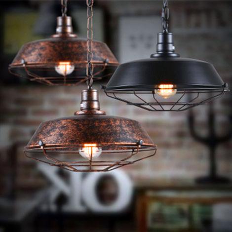 Lámpara de Techo Retro Colgante de 260mm (Negro)E27 Lámpara de Hierro Industrial Decoración para Sala de estar Cocina Restaurante Bar