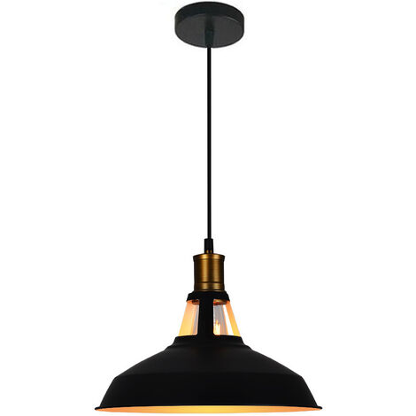 Lampara Colgante Semicircular Sombra Metal Retro Industrial Nórdico Luz de Techo Forma Hemisferio para Sala Comedor Cocina Hotel In (Blanco)Ex Negro