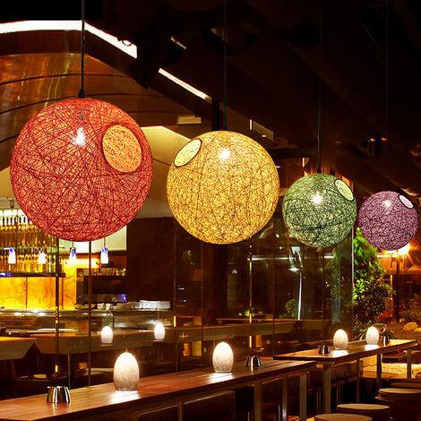 Lámpara Colgante Idílica país de Cuento de Hadas Araña de Colores de Tejido de Ratán Lámpara de Techo Esférica Moderna para Dormitorio Cafe Loft Blanco ø20cm