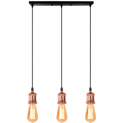 Lámpara Colgante Retro Vintage Colgante de Luz Estilo Simple Candelabro Enchufe E27 Loft Bar Lámpara de Techo para Cafe Office Oro Rosa