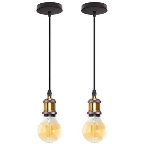 2 piezas Nostalgia Lámpara Colgante Simple Colgante de Luz Industrial Retro Vintage E27 Lámpara de Techo Antigua para Cafe Restaurantes Pasillos Bronce