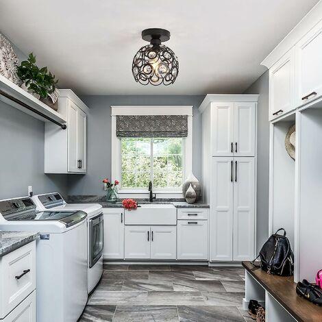 Lámpara de Techo de Cristal de 26 cm Lámpara de Araña de Metal Retro E27 Araña Candelabro Moderna para Cocina Comedor de Oficina en Casa Dormitorio (Negro 2X)