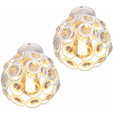 Lámpara de Araña de Metal Retro E27 Lámpara de Techo de Cristal de 20cm Araña Candelabro Moderna para Cocina Comedor de Oficina en Casa Dormitorio (Blanco 2X)