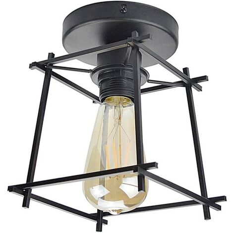 Lámpara de Techo Retro Lámpara de Techo Industrial Vintage E27 Soporte de Lámpara de Tornillo Pantalla de Luz de Jaula de Metal para Loft Garaje Sala de Estar Pasillo Cocina Balcón (Negro)