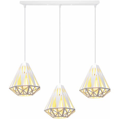 Lámpara de Techo Retro Moderna, Lámpara de Techo de Diamantes Creativa Lámpara de Techo de 3 Luces Lámpara de Araña de Metal Industrial E27 Zócalo Pantalla de Lámpara de Hierro Blanco Ø20cm